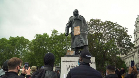 London-Winston-Churchill-Statue-Vandalised-During-Black-Lives-Matter-Protests