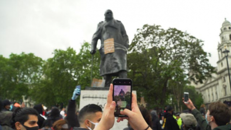 London-Graffiti-on-Winston-Churchill-Statue-During-Black-Lives-Matter-Protests
