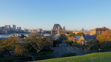 View-of-Empty-Street-with-Sydney-Bridge-and-Harbour