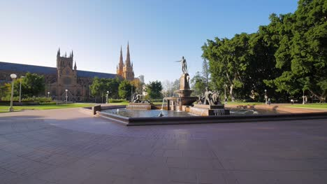 Fountain-and-Church-Cathedral-in-Empty-Sydney-Park