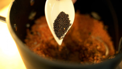 Extreme-Close-Up-of-Female-Hands-Adding-Mustard-Seeds-to-Lentils-