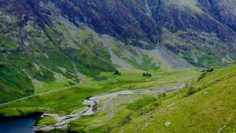 Aerial-Drone-Shot-of-Road-Through-the-Glen-Coe-Hills-01