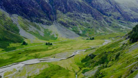 Aerial-Drone-Shot-of-Road-Through-the-Glen-Coe-Hills-02