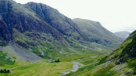 Aerial-Drone-Shot-of-Road-Through-the-Glen-Coe-Hills-03