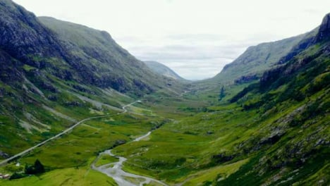 Aerial-Drone-Shot-of-Road-Through-the-Glen-Coe-Hills-04