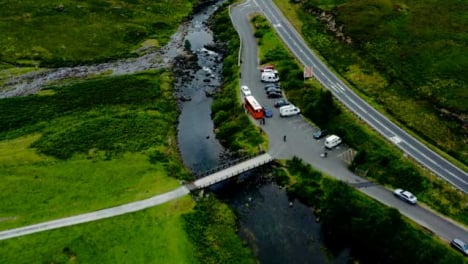 Aerial-Drone-Shot-of-Road-Next-to-Loch-Achtriochtan-in-Glen-Coe