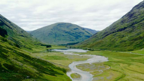 Aerial-Drone-Shot-of-Loch-Achtriochtan-in-Glen-Coe-Scotland-01