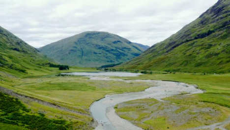 Aerial-Drone-Shot-of-Loch-Achtriochtan-in-Glen-Coe-Scotland-02