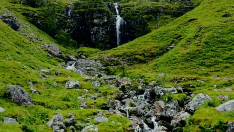 Aerial-Drone-Shot-of-Stream-and-Waterfall-in-Glen-Coe