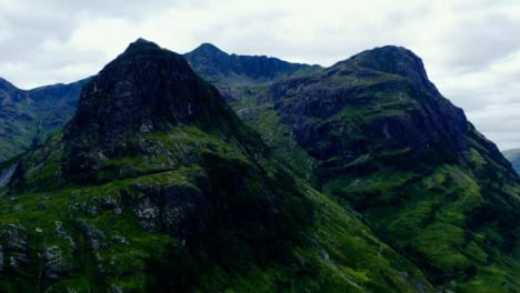 Aerial-Drone-Shot-of-The-Three-Sisters-in-Glen-Coe