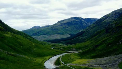 Aerial-Drone-Shot-of-Road-Through-Glen-Etive-Valley