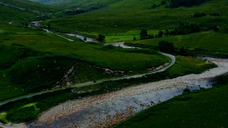 Aerial-Drone-Shot-of-Motorbike-Riding-Through-Glen-Etive-01