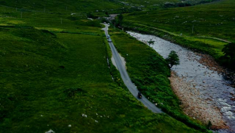 Aerial-Drone-Shot-of-Motorbike-Riding-Through-Glen-Etive-02