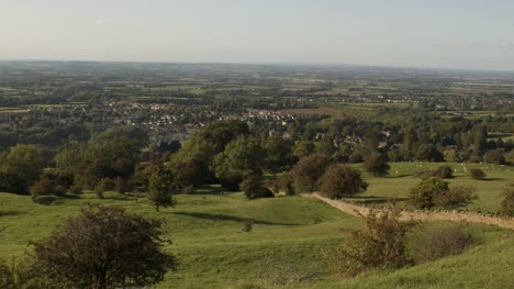Pan-of-Countryside-over-Broadway-in-the-Cotswolds