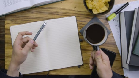 Man-Drinking-Coffee-and-Holding-Pen-In-Other-Hand-