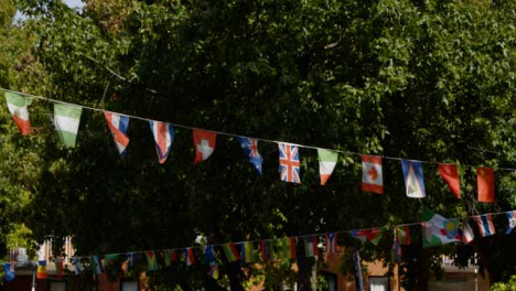 Tilting-Shot-of-Flag-Bunting-at-Gloucester-Green-Outdoor-Market-In-Oxford