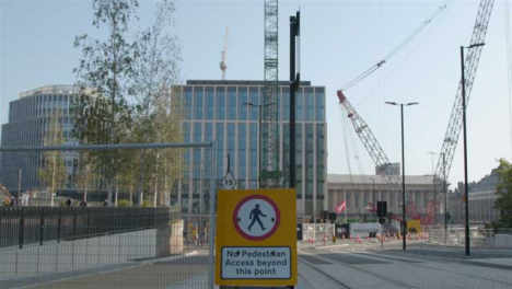 Dolly-Out-Shot-of-No-Pedestrian-Access-Sign-In-Birmingham-Street-