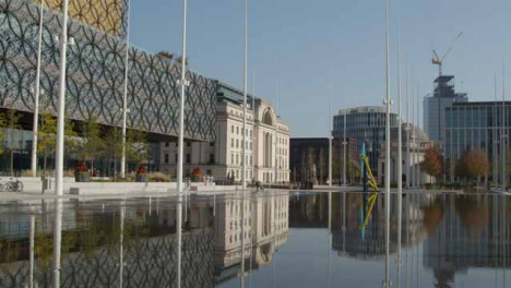 Left-to-Right-Panning-Shot-of-Centenary-Square-In-Birmingham-