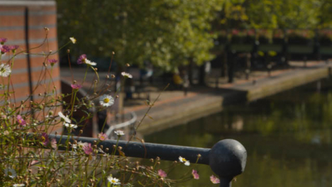Panning-Shot-of-Decorative-Flowers-On-a-Canal-Bridge-