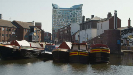 Wide-Shot-of-Canal-Boats-Moored-In-Birmingham-Canal-