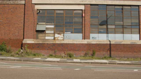 Wide-Shot-of-Dilapidated-Warehouse-Wall-In-Birmingham
