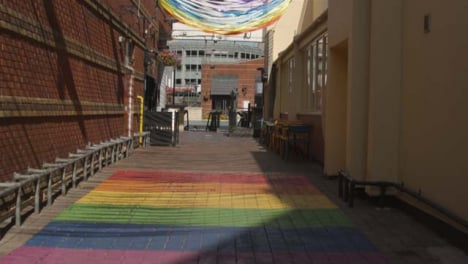 Tracking-Shot-of-Pride-Artwork-Painted-on-Ground-In-Birmingham