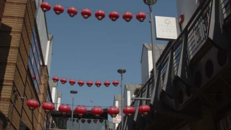 Tracking-Shot-of-Chinese-Lanterns-Hanging-from-Buildings-