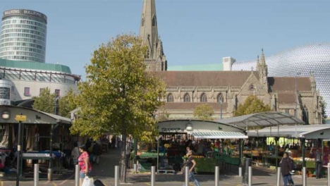 Tracking-Shot-of-Market-Outside-St-Martins-Church-In-Birmingham
