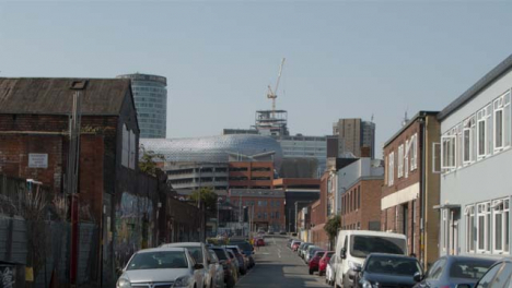 Tracking-Shot-of-Road-Leading-to-Selfridges-In-Birmingham