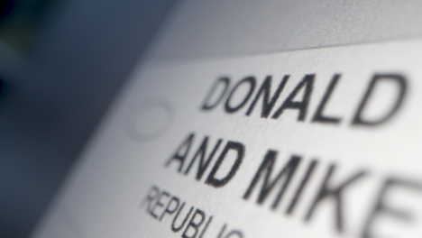 Tracking-Close-Up-of-President-Trump-Name-on-Ballot-Paper-for-US-Election