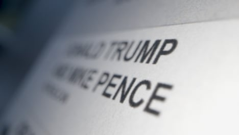 Tracking-Close-Up-of-Vote-for-Donald-Trump-Name-on-Ballot-Paper