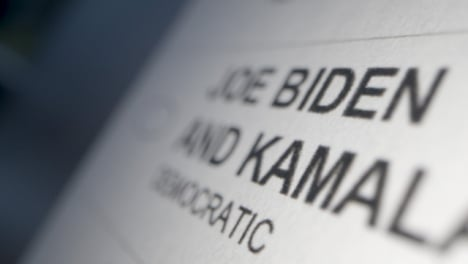 Tracking-Close-Up-of-Vote-for-Joe-Biden-Name-on-Ballot-Paper