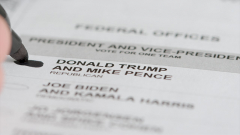 Extreme-Close-Up-of-Vote-for-Donald-Trump-Name-on-Ballot-Paper