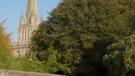 Tilting-Shot-of-Spire-of-St-Mary-Redcliffe-Church-In-Bristol-England
