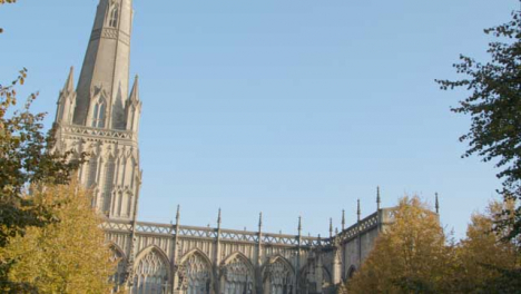 Panning-Shot-of-St-Mary-Redcliffe-Church-In-Bristol-England