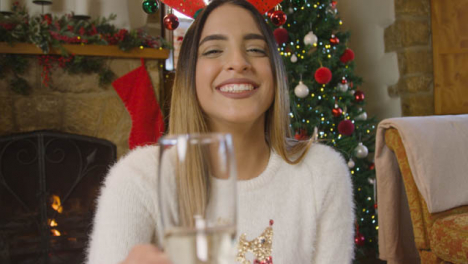 Young-Woman-Raising-Glass-of-Champagne-and-Talking-to-Camera-During-Christmas-Video-Call