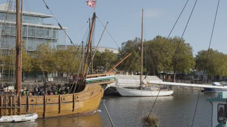 Wide-Shot-of-Vintage-Ship-Sailing-Through-Bristol-Marina-In-Bristol-England