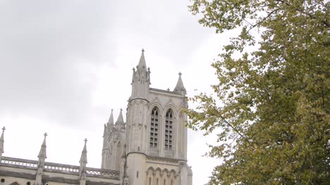 Panning-Shot-of-the-Spires-of-Bristol-Cathedral-In-England