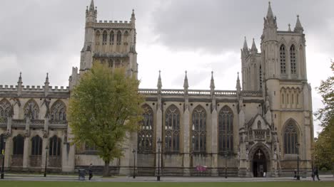 Sliding-Shot-of-the-Spires-of-Bristol-Cathedral-In-Bristol-England