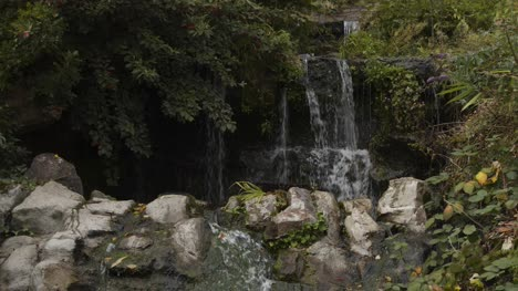 Close-Up-Shot-of-Waterfall-On-Rocks-In-Bristol-England