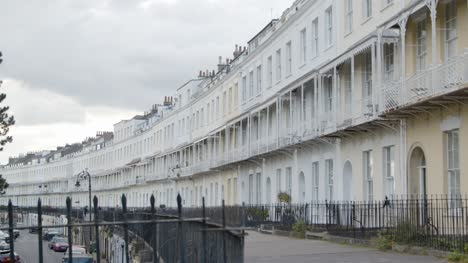 Rising-Shot-of-Royal-York-Crescent-Town-Houses-In-Bristol-England