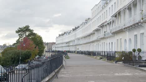 Tracking-Shot-Along-Royal-York-Crescent-Town-Houses-In-Bristol-England