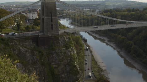 Tilting-Shot-of-Clifton-Suspension-Bridge-and-River-Avon-In-Bristol-England