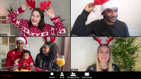 4-Way-Split-Screen-Group-Video-Christmas-Call-Amongst-Friends-and-Young-Family