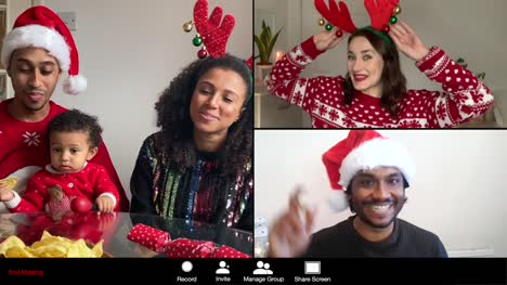 3-Way-Split-Screen-Group-Video-Christmas-Call-Amongst-Friends-and-Young-Family