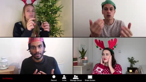 4-Way-Split-Screen-Christmas-Group-Video-Call-Amongst-Friends-Playing-Charades