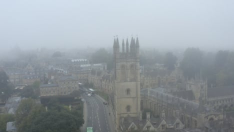 Drone-Shot-Orbiting-Buildings-In-Misty-Oxford-10