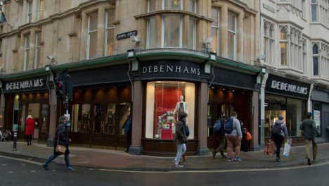 Pedestal-Shot-of-Debenhams-Department-Store-In-Oxford-England
