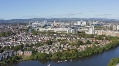 Drone-Shot-Orbiting-Cardiff-City-Skyline-01