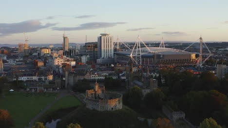 Drone-Shot-Pulling-Away-From-Cardiff-Castle-02
